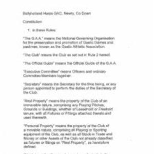 Ballyholland Harps Constitution